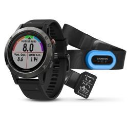 Спортивные часы FENIX 5 SAPPHIRE черные с черным ремешком и HRM-Tri